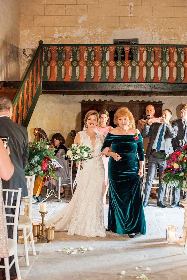 Bride & Mother walk down aisle in France